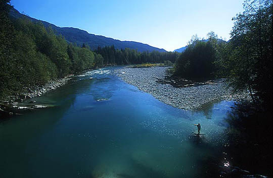 A lone Fly Fisherman at the Hot Springs Pool